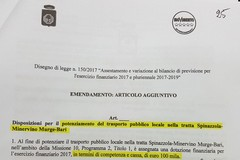 100mila euro per il trasporto pubblico tra Spinazzola, Minervino e Bari