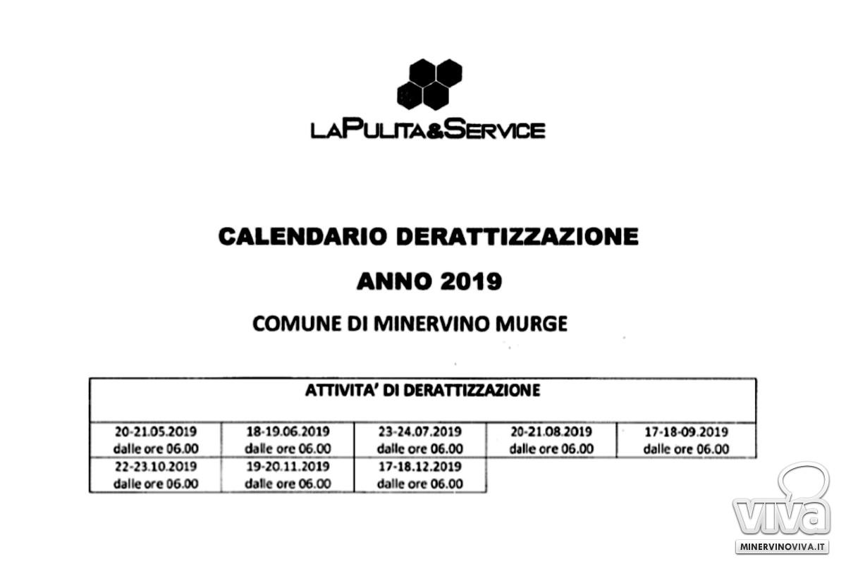 Calendario derattizzazione 2019